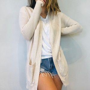 UO BDG cream long cozy cardigan